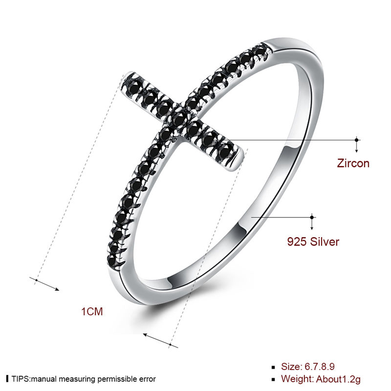 Classic Black Crystal Setting Cross Religious Ring 925 Sterling Silver Female Ring Christian Jewelry R160.
