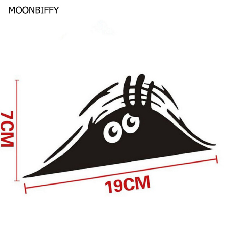 MOONBIFFY Car Styling Accessories Reflective Waterproof Fashion Funny Peeking Monster Car Sticker vinyl decal decorate sticker new arrival the avengers wry neck car sticker cartoon reflective car styling sticker motorcycle car decal accessories