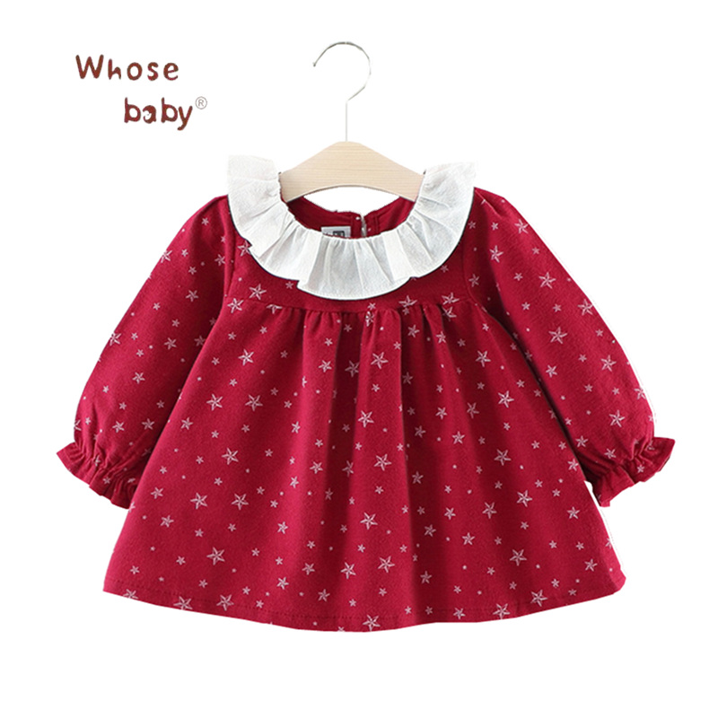 Newborn Baby Girl Dress Five Stars Printed Dress for Girls Cotton Vestidos Long-Sleeve Clothing Tutu Clothes Infant Clothing