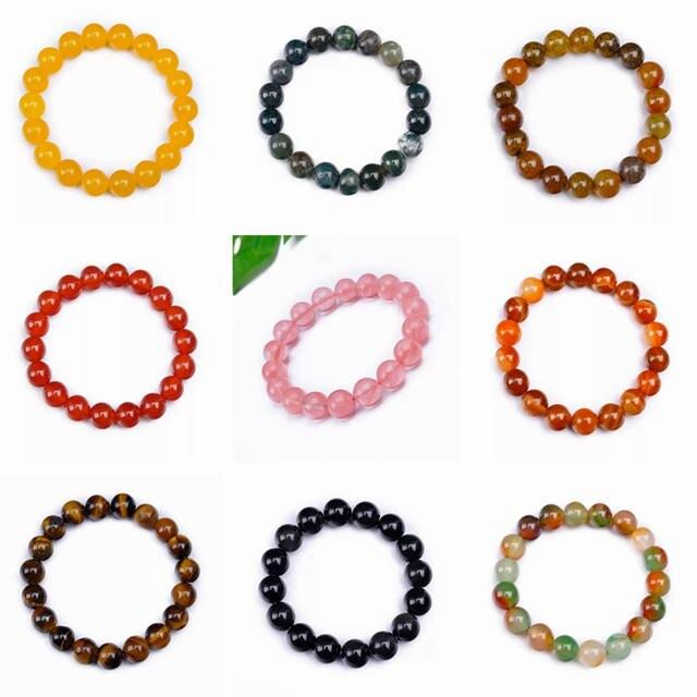 d3458db092d8 placeholder Nuevo Modo granos de piedra naturales ágata rojo pulsera  brazalete de cristal de piedras preciosas de