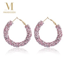 Chic Austrian Crystal Big Circle Hoop Earrings for Women Charm Round Shiny Rhinestone Glitter Earring Nice Jewelry(China)