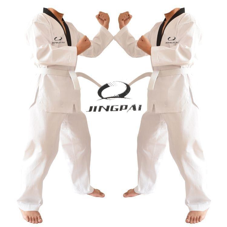 2016 Новинка gingpai дышащий хлопок добок тхэквондо WTF mooto карате форма для взрослых и детей таэквондо обучение одежда