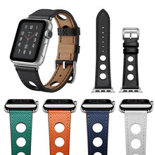 Nueva Banda de estilo hueco para Apple Watch correa de cuero genuino 38/40mm 42/44mm para pulsera de la serie iWatch de Apple 1/2/3/4(China)