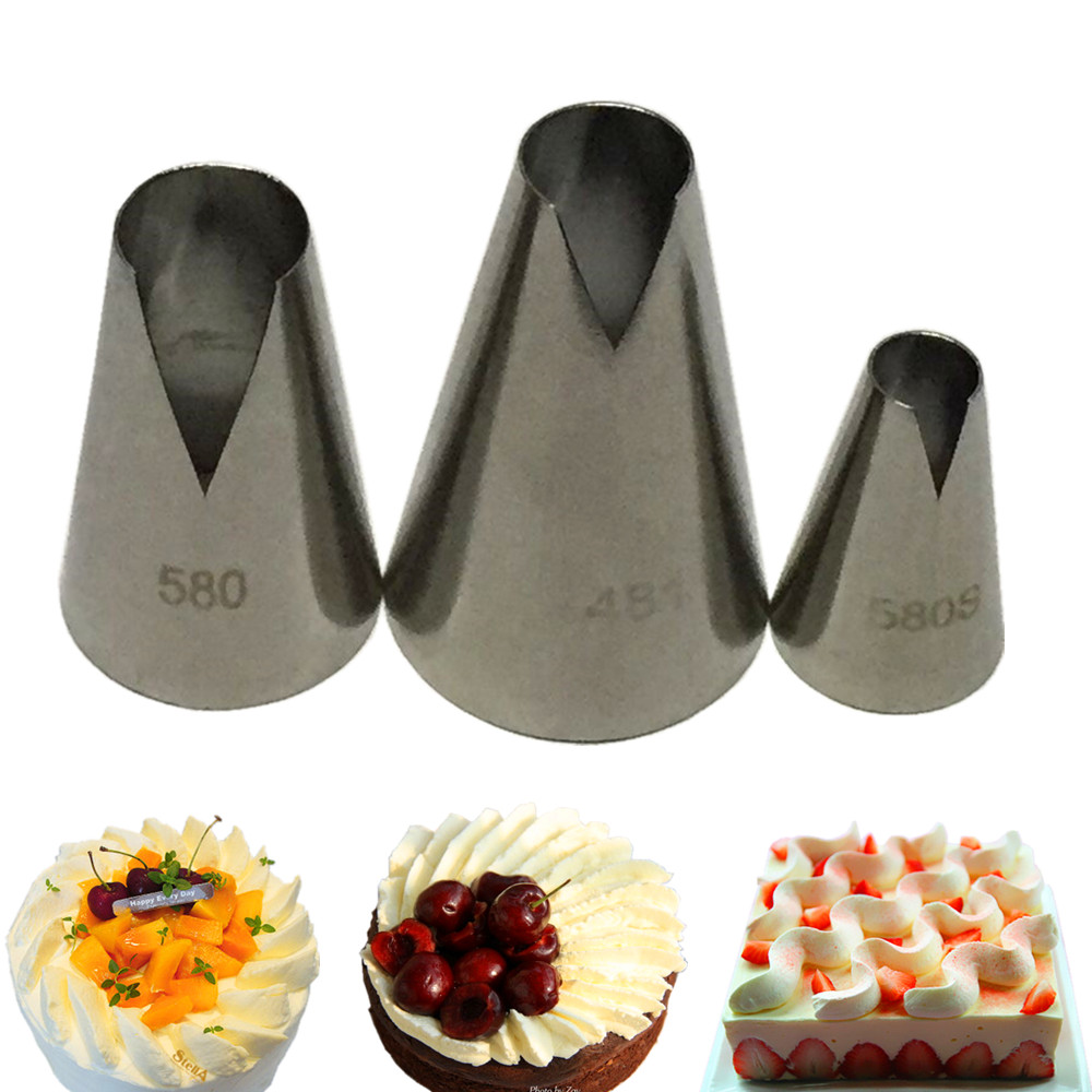 3 PCS DIY Cream Nozzle Pastry Stainless Steel Icing Piping Nozzles Tips Set Cakes  Decorating Baking d57c0e92675f