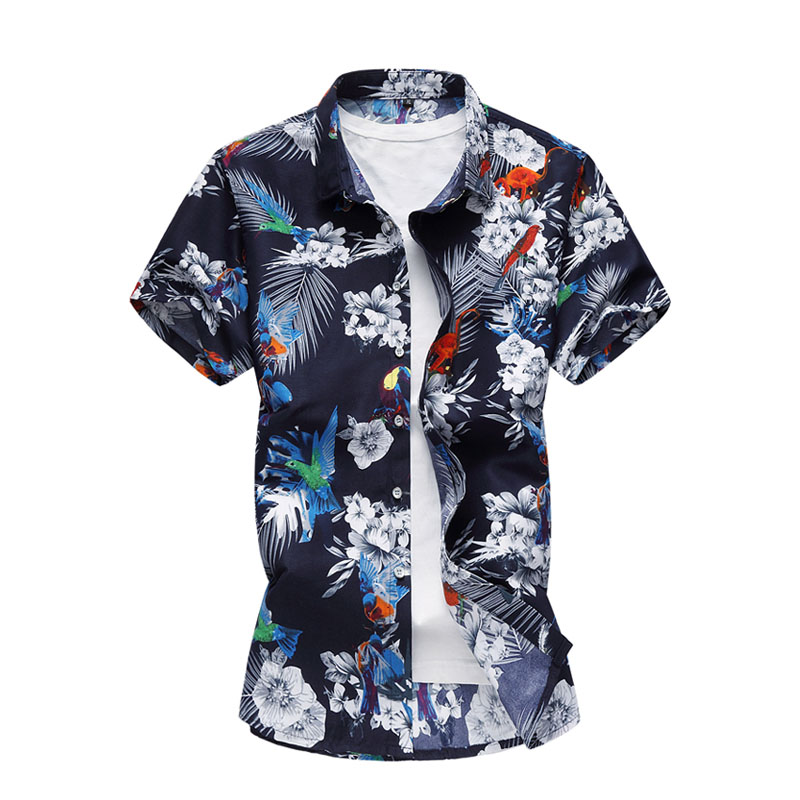 20 Stili Di Estate Degli Uomini Della Camicia Casual Manica Corta Da Uomo Floreale Camicette Hawaii Casual Maschio Fiore Stampa Beach Holiday Camisa 6xl 7xl