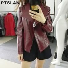 Ptslan 2017 Women's Real  Leather Jacket  Autumn New Fashion Zipper Outerwear Jacket