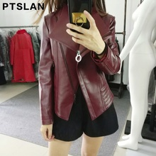 Ptslan 2017 Women's Real Leather Jacket Autumn New Fashion Zipper Outerwear Jacket