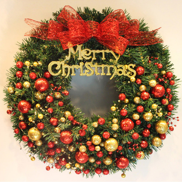 ornaments christmas garland wreath green with bow ball for artificial christmas tree garland and window garland - Christmas Tree Garland