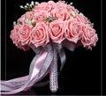 2017 Nueva Arival Flores Barato Romántico Rosa Nupcial Hecho A Mano Rosa Artificial de La Boda de dama de Honor/Dama de Honor Ramos