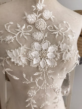 5 pieces Ivory 3D Flower Leaf Pearl Beaded Bridal Lace Applique with Handmade Petals Pearls for Illusion Gowns