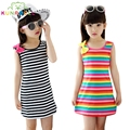 Girls Summer Dress Cotton Casual Children Clothing Sleeveless Striped Baby Dresses  For Girls Bow O-Neck Children Clothing H022