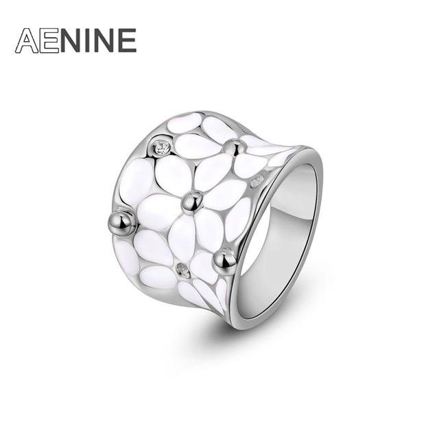 AENINE Fashion Austrian Crystal White Flower Ring White Gold-color Women Jewelry