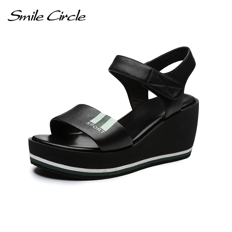 Smile Circle 2018 Summer Genuine Leather Sandals Women Fashion Flat Wedges Thick bottom High-heeled Shoes Woman Sandals woman sandals 2018 summer women concise bling open toe casual shoes woman fashion thick bottom wedges sandals