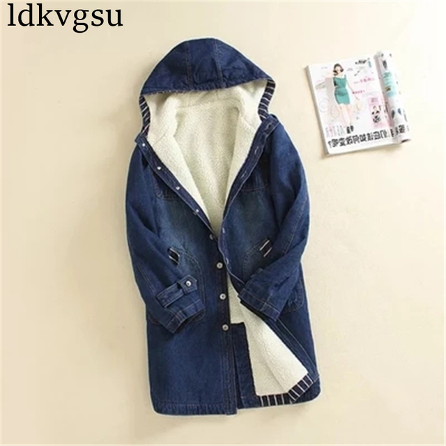 2020 automne hiver Denim veste femmes chaud à capuche jean manteau grande taille 4XL décontracté femme longue Denim coupe-vent vêtements dextérieur A455