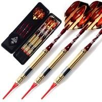 Cuesoul 3pcs Colorful Soft Tip Darts Set with Golden 16 Grams Barrels, Red Aluminium Dart Shafts for Dardos Electronico