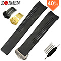 20mm Silver Black Gold Curved Black Watchbands Diving Silicone Rubber Holes Watch Band Strap Band Sweatband Wrist Men Buckle