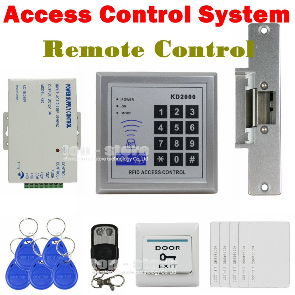 DIYSECUR Full Kit Set 125KHz RFID Keypad Access Control System Security Kit + Electric Strike Lock KD2000 diysecur 125khz rfid metal case keypad door access control security system kit electric strike lock power supply 7612