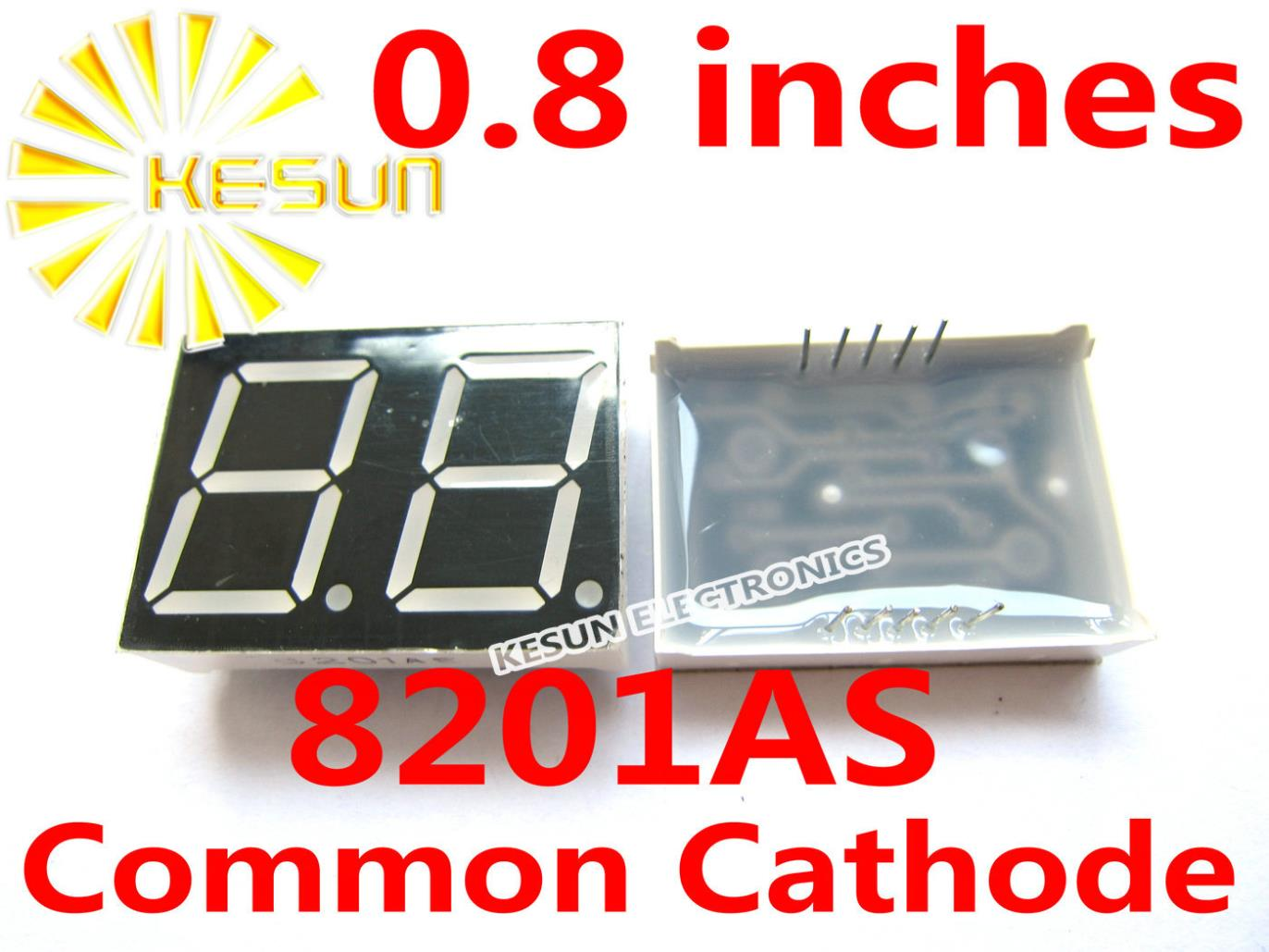 2PCS X 0.8 Inches Red Common Cathode/Anode 2 Digital Tube 8201AS 8201BS LED Display Module Light Beads