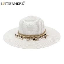 BUTTERMERE Wide Brim Sun Hat Women Straw White For Ladies Ribbon Tassel Vintage Summer Outdoor Travel Female Beach