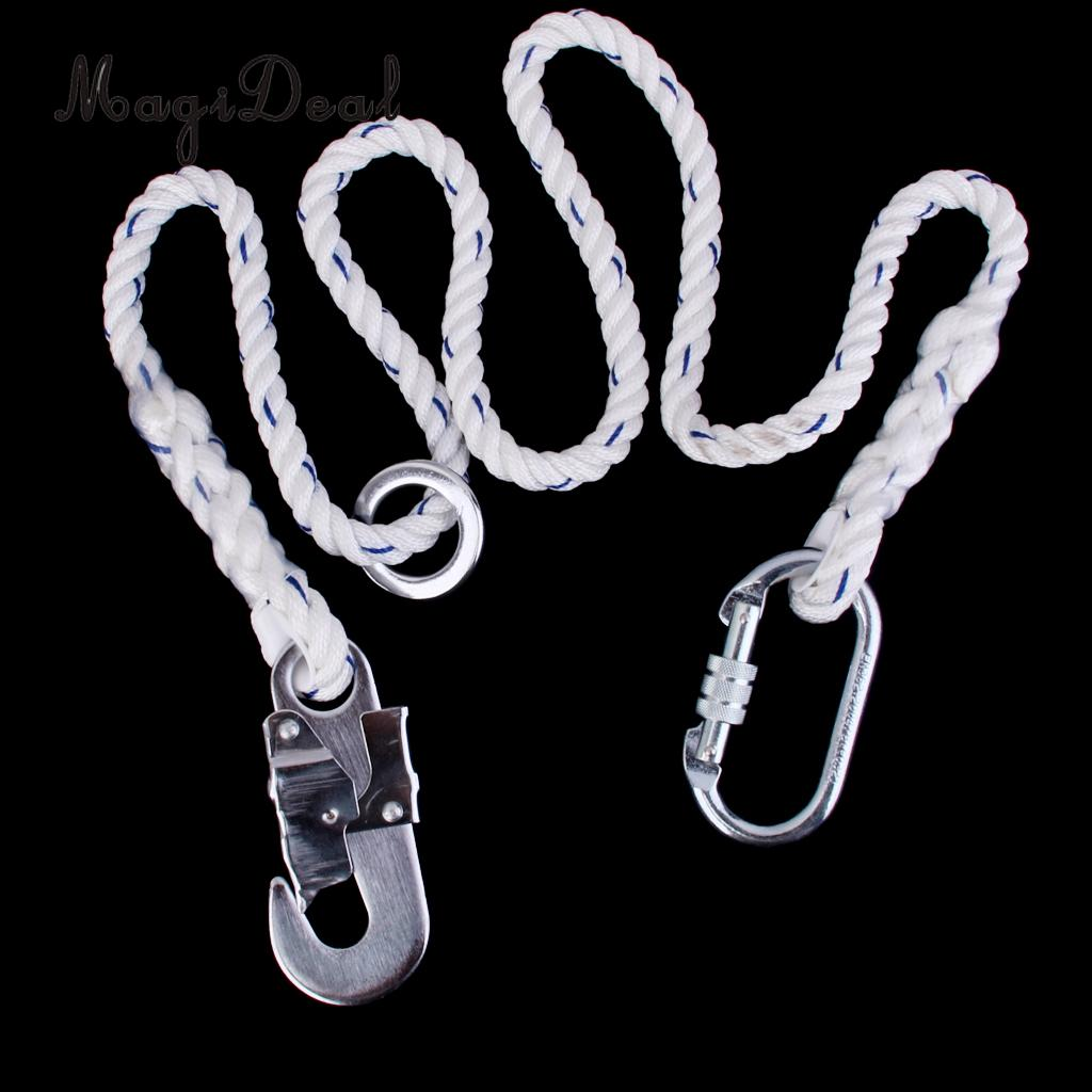 MagiDeal Rock Climbing Tree Arborist Fall Arrest Safety Lanyard Rope Strap With Hook Carabiner for Outdoor Mountaineering Hiking босоножки