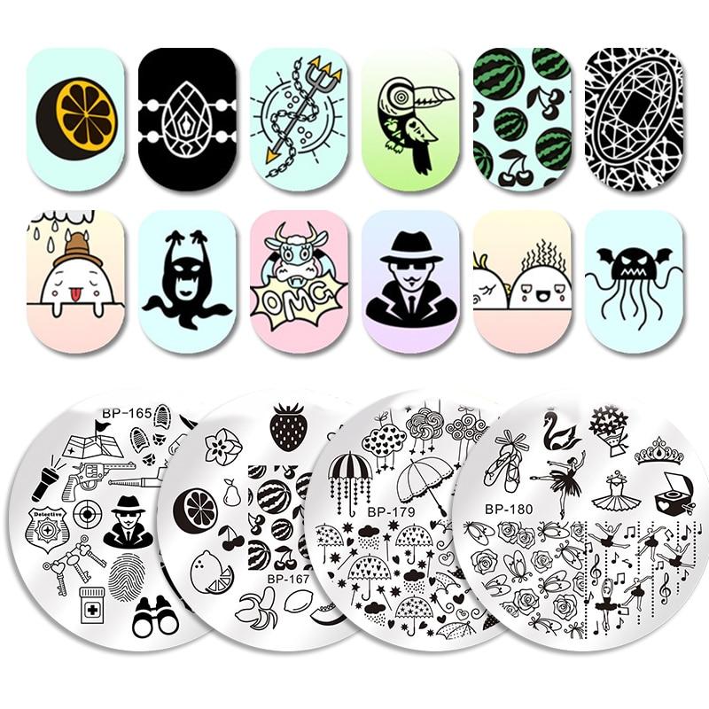 NACIDO PRETTY Redondo Estampado Placa Joyería Collar Manicura Nail - Arte de uñas