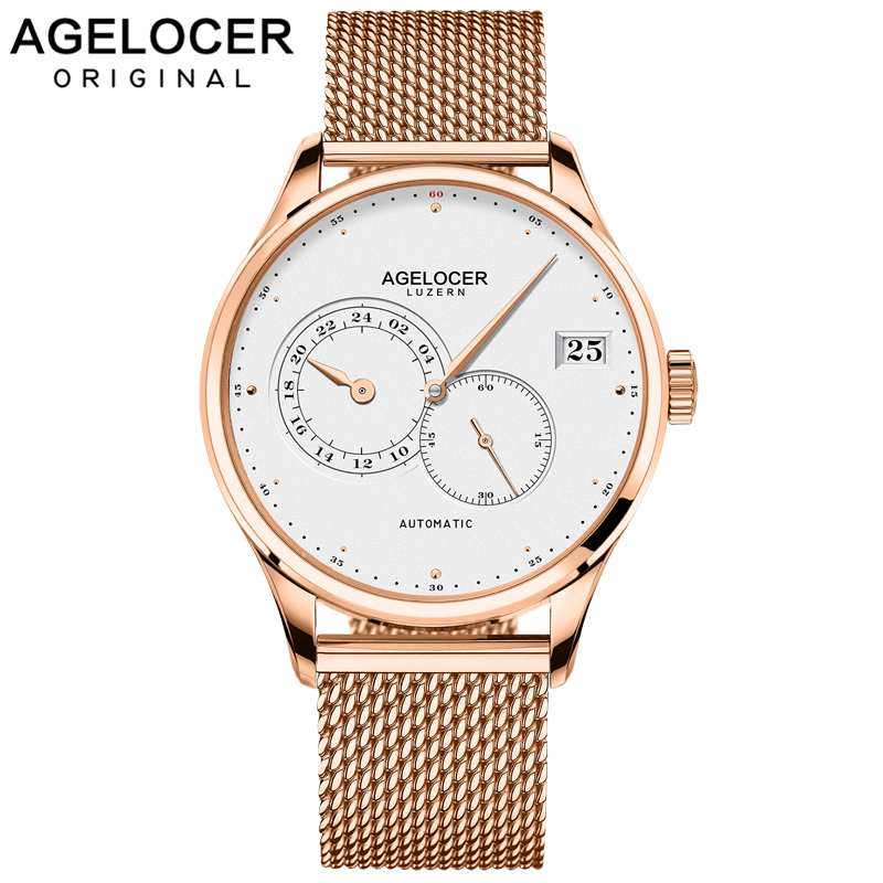AGELOCER Swiss Self Wind Automatic Mechanical Watches Men Gold Plated 316L Stainless Steel Watch Waterproof Relogio MasculinoAGELOCER Swiss Self Wind Automatic Mechanical Watches Men Gold Plated 316L Stainless Steel Watch Waterproof Relogio Masculino