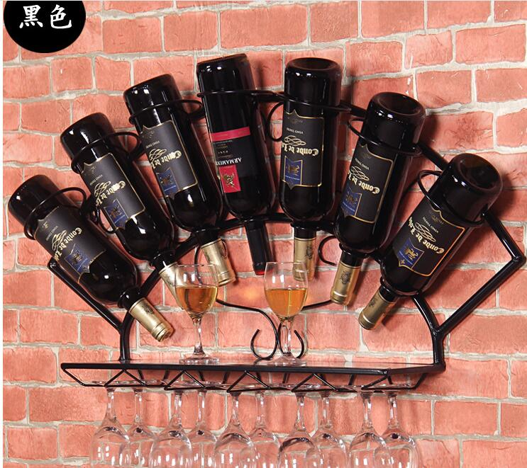 2 PCS LOT Metal European wine rack hanging wall Wine rack square wine rack shelf iron