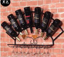 2 ШТ./ЛОТ Металл Европейский винный шкаф висит стене Винного шкафа площади вино полка утюг стене висит рамка железа искусства кухня полки