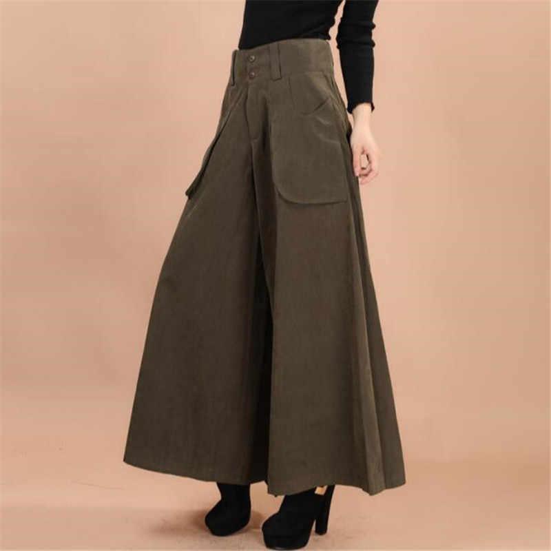 Plus size summer Women Wide Leg Dress Pants vintage Female Casual solid  Skirt Trousers Loose 50s Capris Culottes Pocket ZY3365