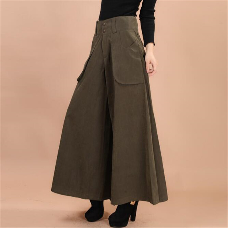 US $14.69 49% OFF|Plus size summer Women Wide Leg Dress Pants vintage  Female Casual solid Skirt Trousers Loose 50s Capris Culottes Pocket  ZY3365-in ...