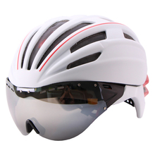 Goggles Cycling Helmet Casco Ciclismo Bicycle Helmet Ultralight In-mold Bike Helmet Road Mountain Helmet With Lens 55-61 CM