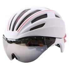 Gafas de Casco de Ciclista Casco Ciclismo Bicicleta Casco Ultraligero En molde Casco de Bicicleta Carretera de Montaña Casco Con Lentes 55-61 CM