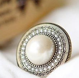 Big Simulated Pearl Round ring women bling jewelry s