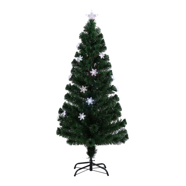 Snowflakes Christmas Tree Decorative Indoor Outdoor Led Color Changing Artificial Fiber Optic Lights Tall Us Plug