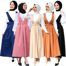 5 Colors Full Circle Flared Maxi Skirt Women Muslim Pleated Belted Swing Suspenders Skirts Islamic Costume Casual Loose Fashion