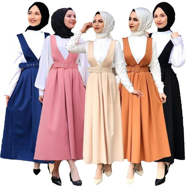 5 צבעים מלא מעגל התלקח מקסי חצאית נשים המוסלמי קפלים החגורים כתפיות חצאיות האסלאמי תלבושות מקרית Loose אופנה