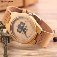 Unique Top Gift Wood Watches Men S Analog Simple Robot Bamboo Hand Made Men WristWatch