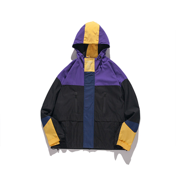 6e7b1271e Fashion Hooded Jackets Men Color Block Zipper Casual Windbreaker Hip ...