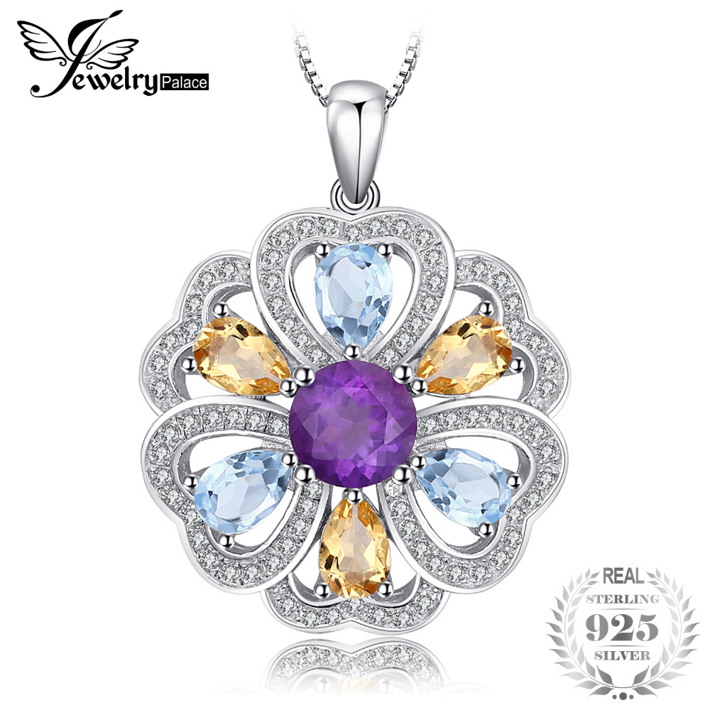 JewelryPalace Flower Heart 4.1ct Natural Amethyst Citrine Sky Blue White Topaz Pendant Necklace 925 Sterling Silver 45cm Chain