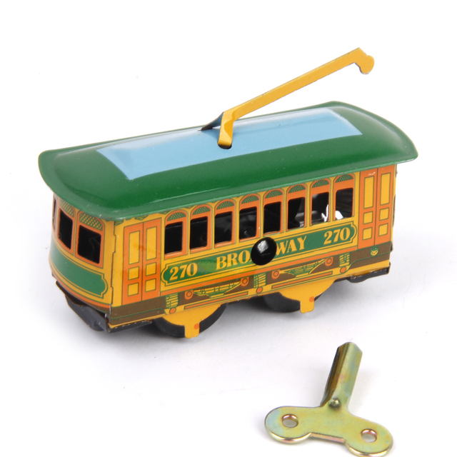 New Arrival Kid Vintage Tram Trolley Streetcar Tin Toy Collectible Gift with Wind Up Key Birthday Gift Baby Toys for Adult Child