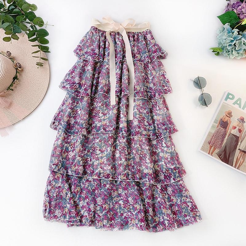 AcFirst Summer Women Fashion Sexy Skirt High Waist Ruffles Asymmetrical Bud Ankle Length Skirt Flower Printed Chiffon Skirts
