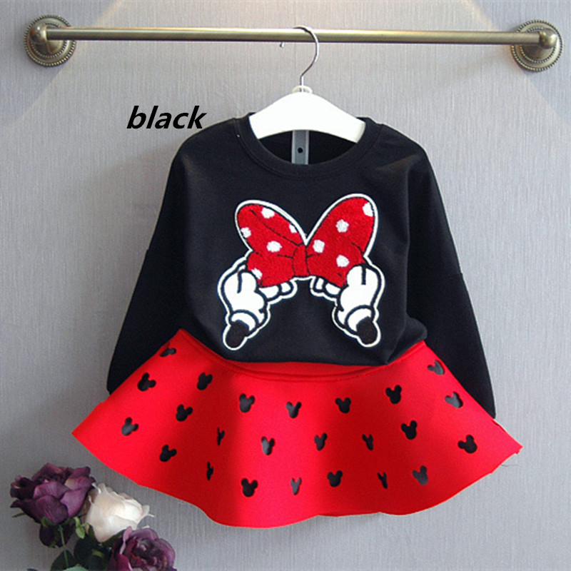 2021 latest spring and autumn piece fitted girls, cartoon bow embroidered sweater hollow horn + skirt suit 3-8 year-old girl set 2