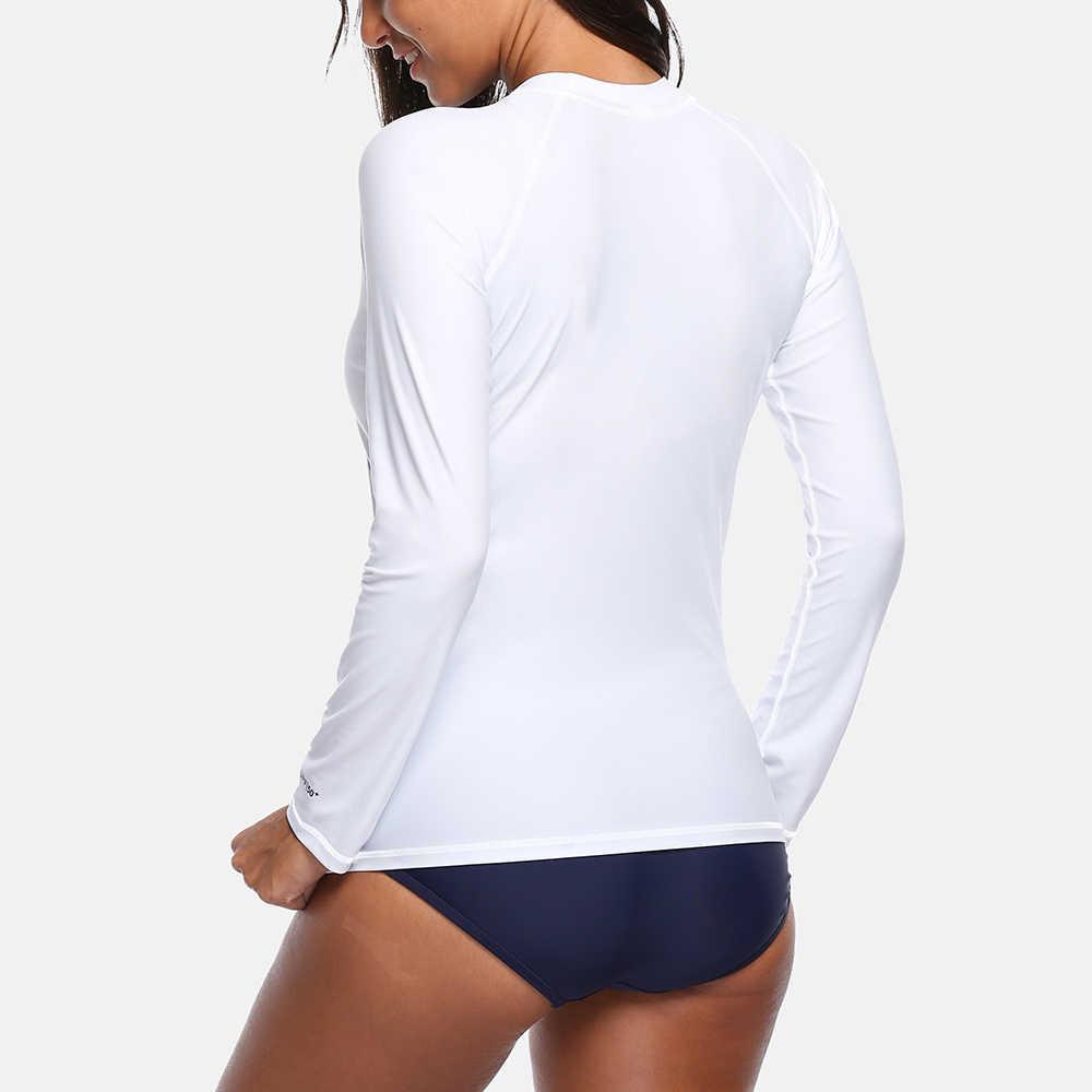 قميص جاتو النسائي Rashguard ملابس السباحة قمصان طويلة الأكمام UPF50 + شجرة جوز الهند ملابس السباحة حماية من الأشعة فوق البنفسجية طفح الحرس قميص ركوب الأمواج