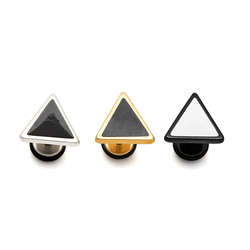 Man earring triangle shape unisex woman fashion earrings cool ear piercing jewelry 1 pair