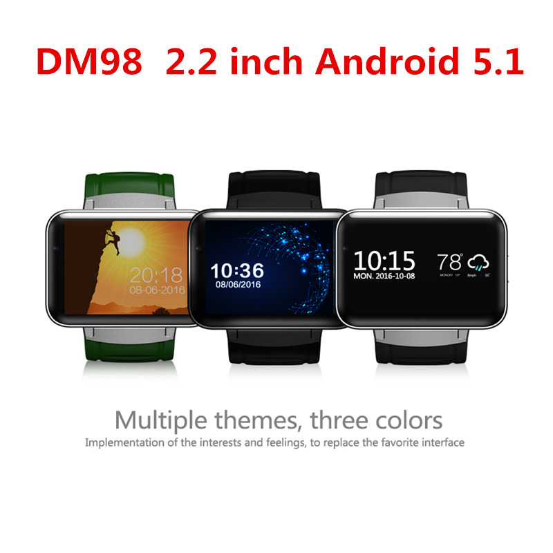 Newest DM98 Bluetooth Smart Watch Phone MTK6572 with 2G/3G SIM Camera Android 5.1 OS Clock Smartwatch Wristwatch 900mah GPS Wifi celiadwn smart watch android 5 1 smartwatch phone 3g mtk6580 512mb 4gb with 2 0 camera wifi gps sim card clock vs x200 dm98