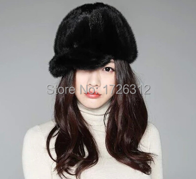 Véritable vison fourrure chapeau femme hiver vison cheveux cap chevalier casquette thermique chapellerie femmes