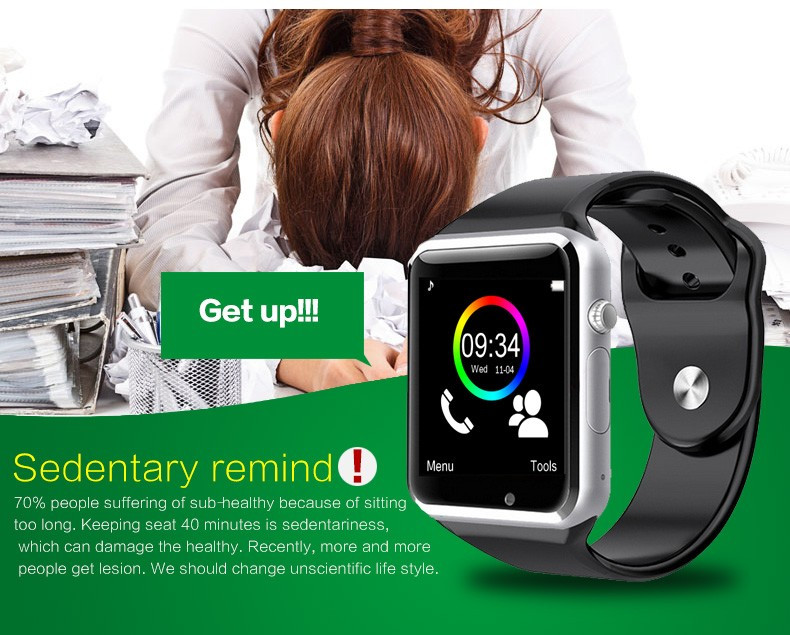 2016 New Arrival A1 Smart Watch Clock Sync Notifier Support SIM TF Card Connectivity Apple iphone Android Phone Smartwatch 12