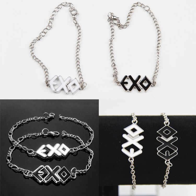 Hot Selling EXO Rope Cuff Bangles Lovers Bracelets 2 Colors Black White Charming Jewelery Accessories