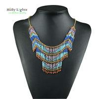 2017 mulheres bohemia colar & pingentes multicamadas manual frisado colar gargantilha za antigo tribal boho étnica colar de jóias nova