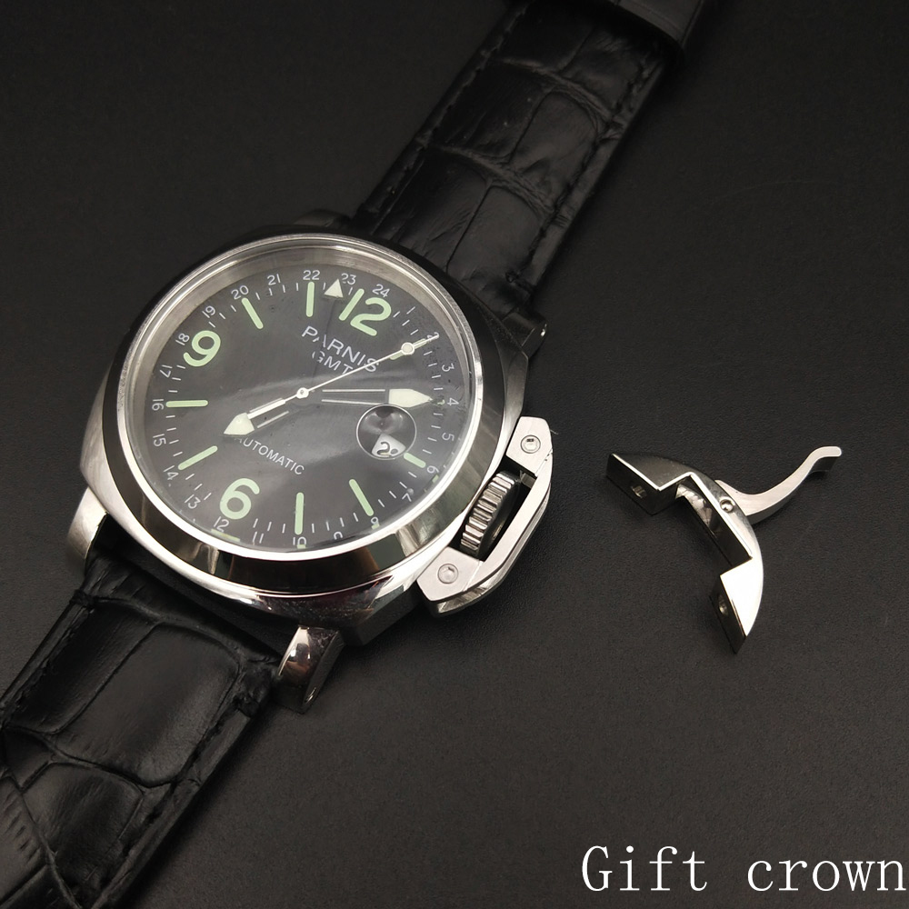 GMT parnis wristwatch black dial movement automatic watch 44mm polished case leather strap 00001
